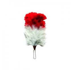 Red/White Feather Hackle Plume