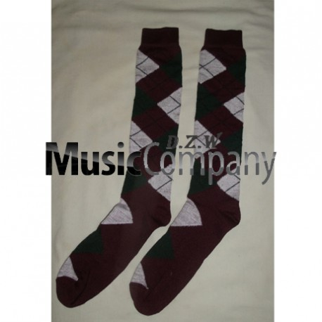 Maroon/White/Green Scottish/Highland Wool Kilt Hose/Sock