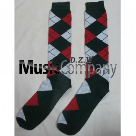 Green/Red/White Scottish/Highland Wool Kilt Hose/Sock