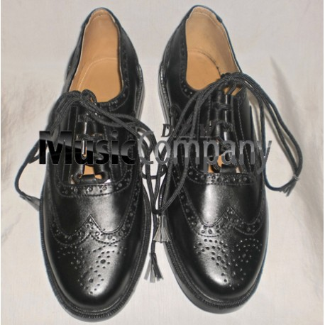 Black Ghillie Brogues Leather Upper with Leather Sole