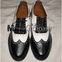 Black/White Ghillie Brogues Leather Upper with Leather Sole