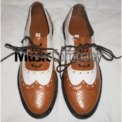 Brown/White Ghillie Brogues Leather Upper with Leather Sole