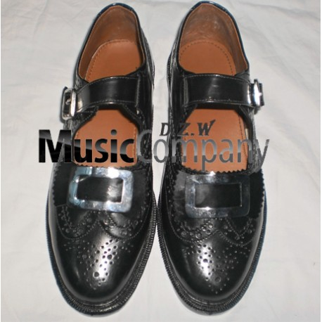 Black Silver Buckle Kilt Ghillie Brogues Leather Upper with Leather Sole