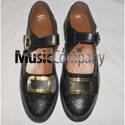 Black Gold Buckle Kilt Ghillie Brogues Leather Upper with Leather Sole