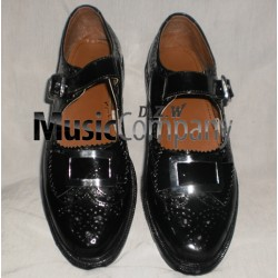 Black Silver Buckle Kilt Ghillie Brogues with PVC Sole