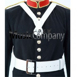White Leather Bass Drummers Harness