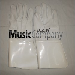 White Leather Drum Majors Gauntlet Gloves