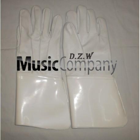 White Leather Drum Majors Gauntlet Gloves